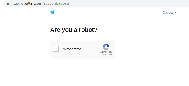 Twitter recaptcha challenge. Check I'm not a robot.